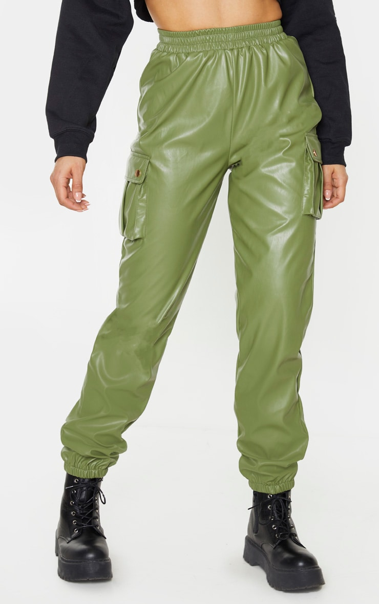 Tall Khaki Faux Leather Pocket Detail Jogger 2