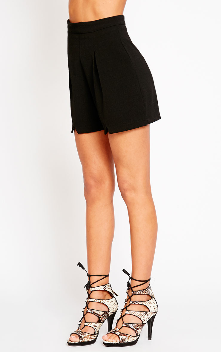 Raissa Black Notch Front High Waist Shorts 3
