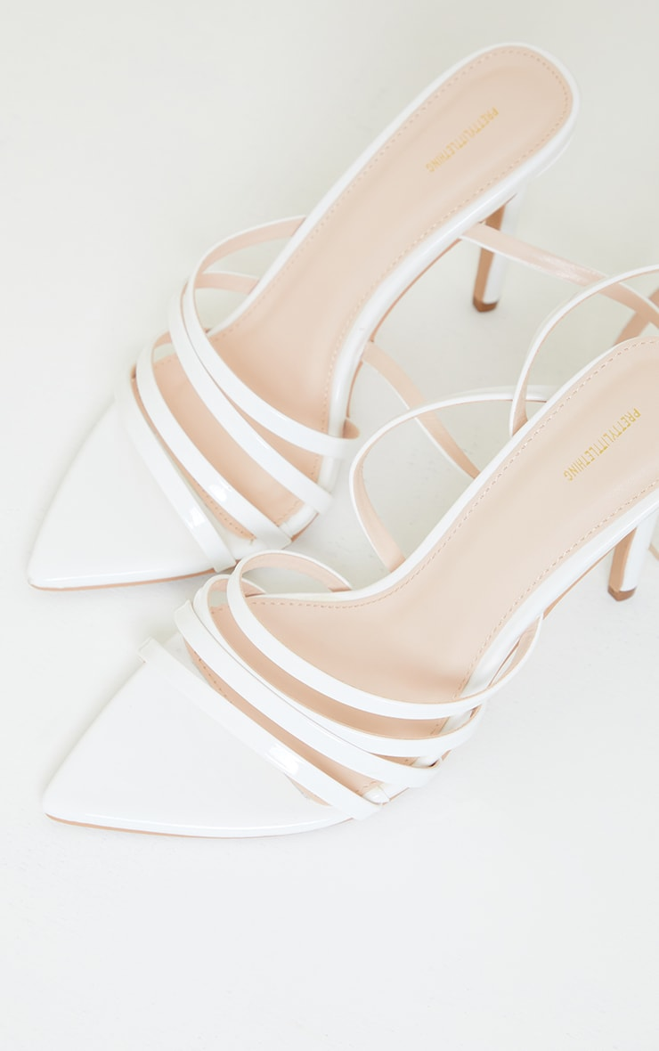 White Wide Fit Point Toe Strappy Stiletto Heels 3