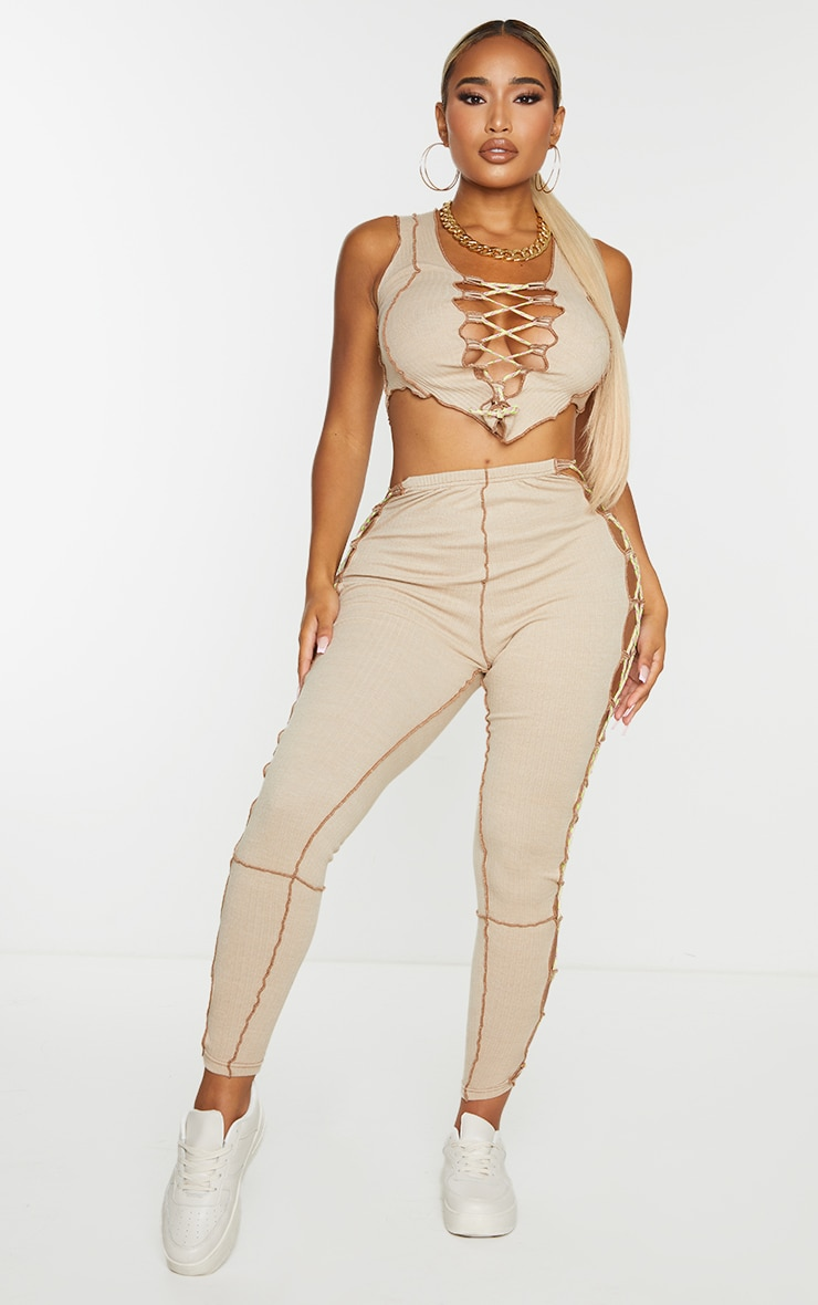 Shape Stone Thick Rib Contrast Stitch Rope Detail Crop Top 3