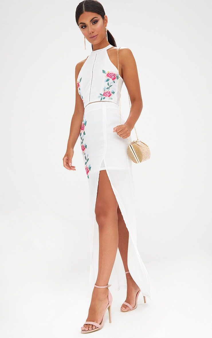White Floral Embroidered Maxi Dress 4