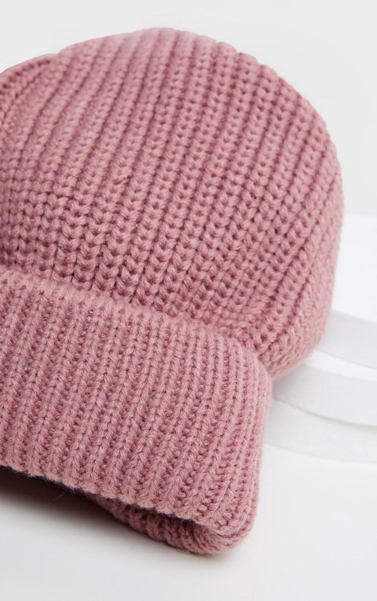 Pink Basic Rib Beanie Hat 3
