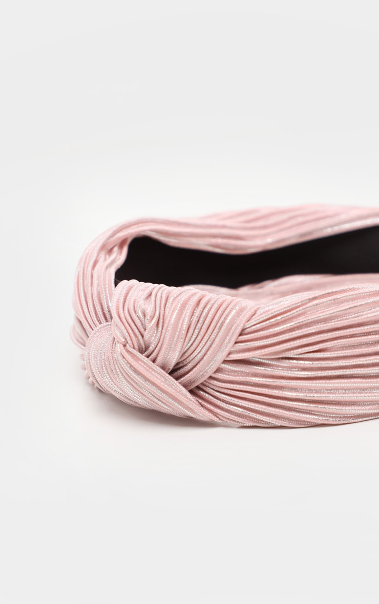 Pale Pink Pleated Knotted Head Band 4