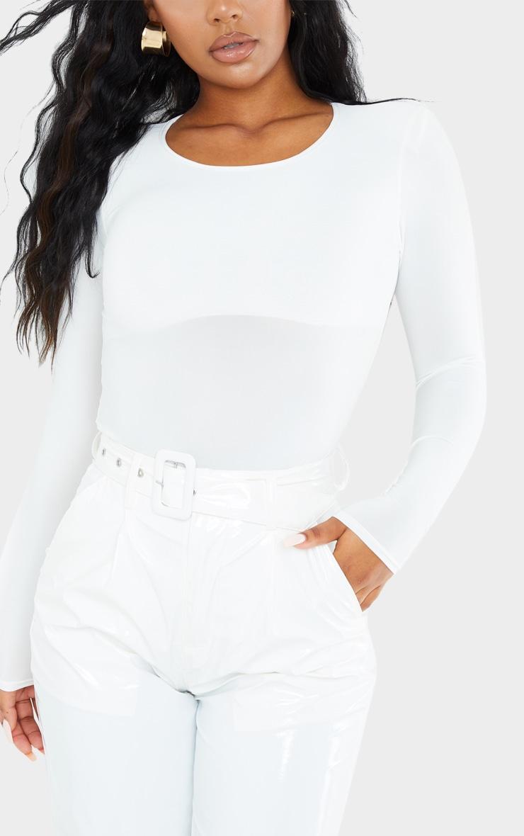 White Slinky Shoulder Pad Long Sleeve Bodysuit 4