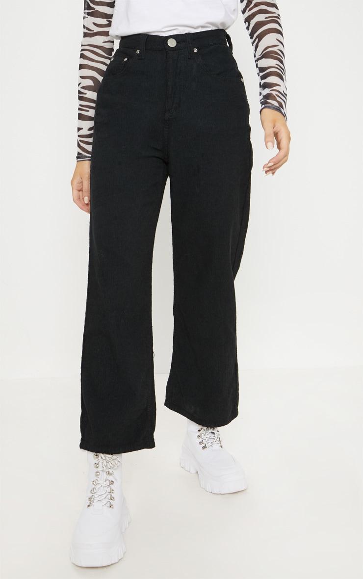 Black Cord Wide Leg Utility Cropped Jeans 2