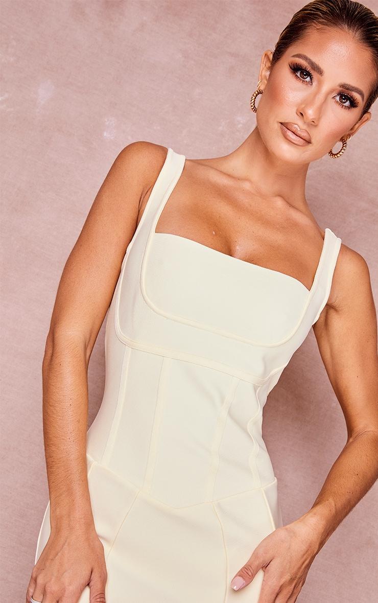 Cream Bandage Panel Detail Sleeveless Midi Dress 4