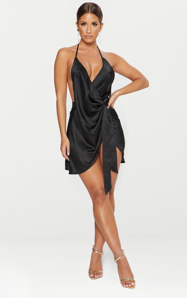 Black Satin Halterneck Wrap Bodycon Dress