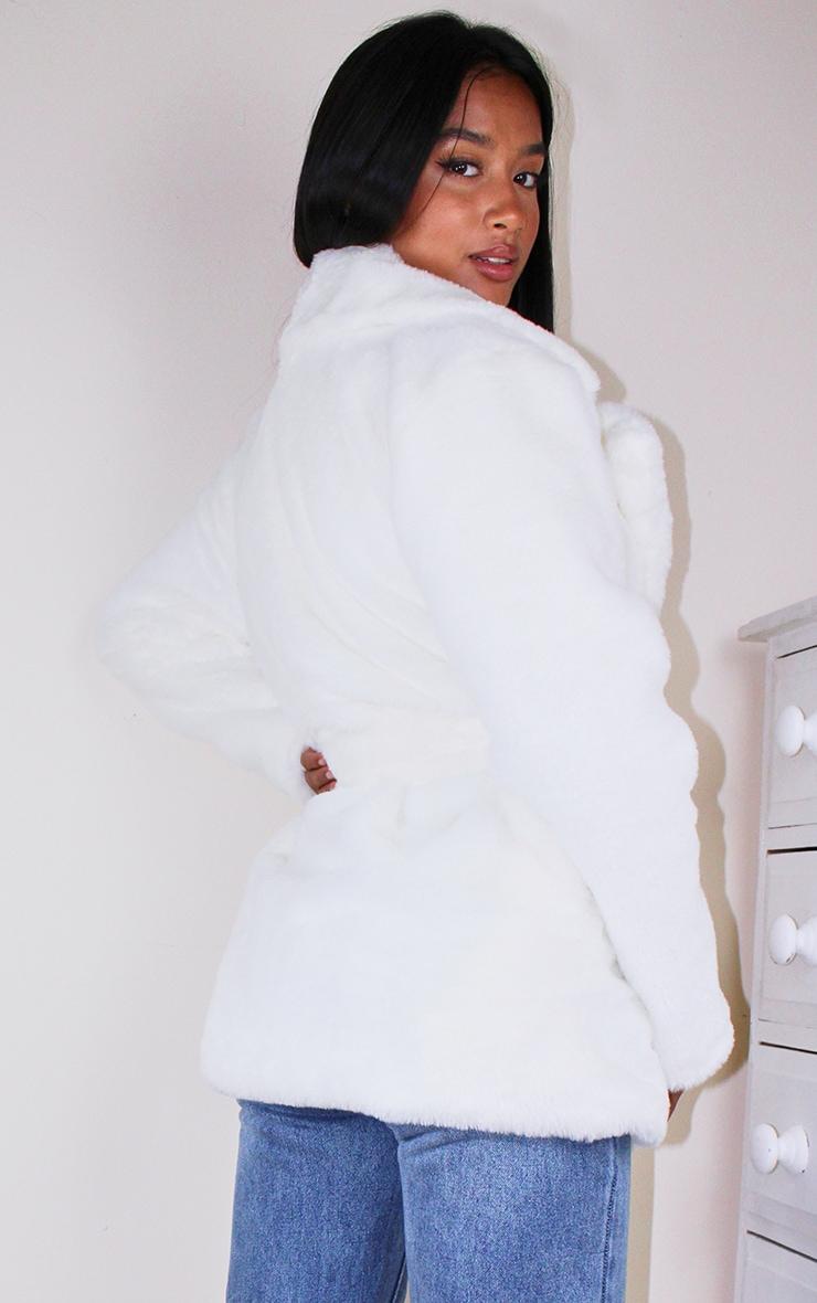 Petite Cream Faux Fur Belted Coat 2
