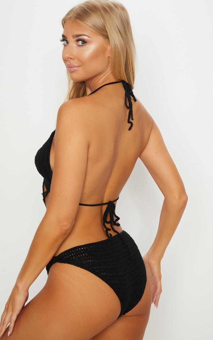 Black Crochet Beaded Swimsuit 2