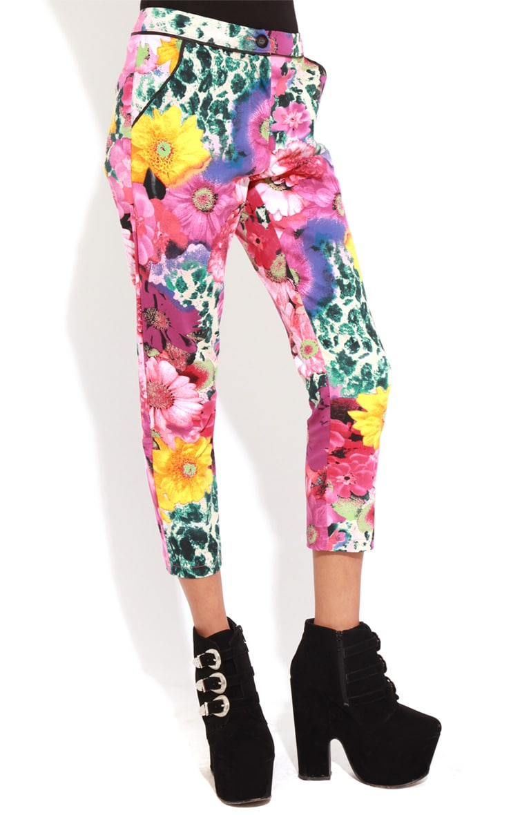 Olive Floral Cropped Jeans  5