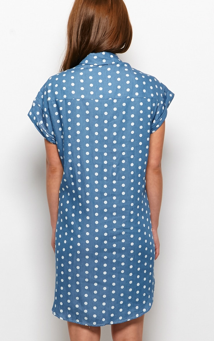 Trixie Blue Polka Dot Denim Shirt Dress 2