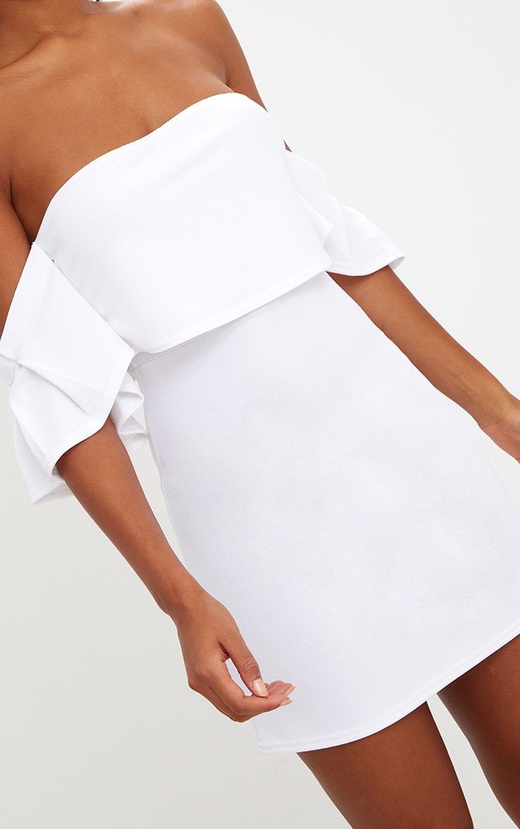 White Ruffle Sleeve Overlayer Bardot Bodycon Dress 5