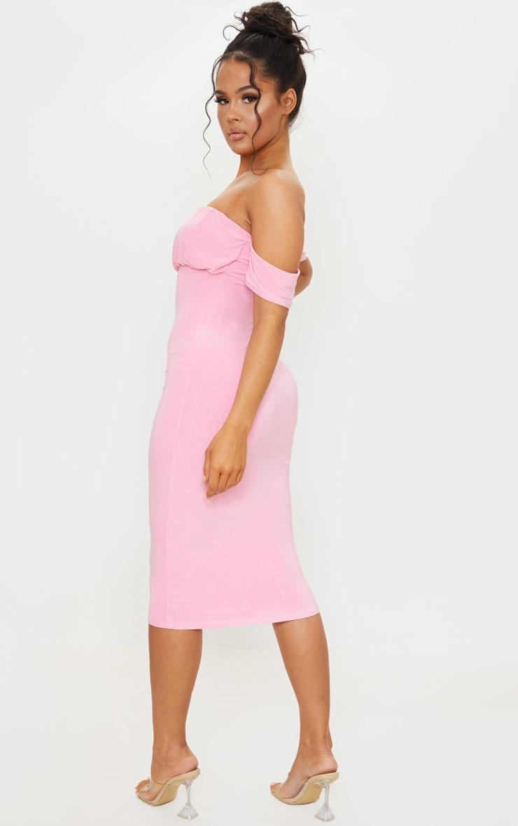 Pink Slinky Bardot Ruched Bust Midi Dress 2