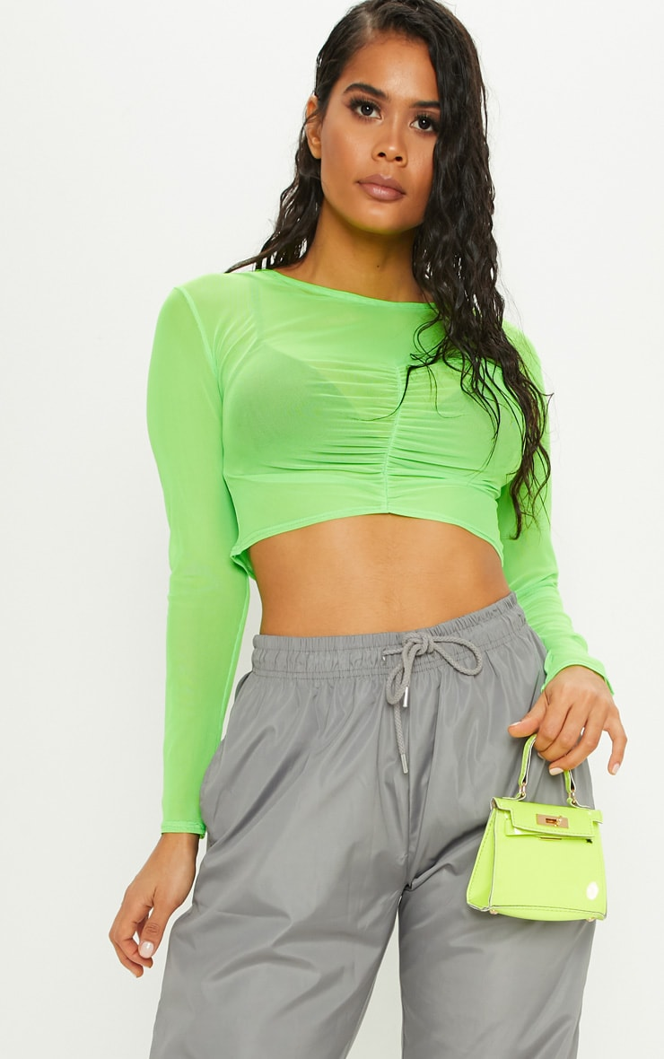 f1636e9f835cee Lime Ruched Front Mesh Long Sleeve Crop Top image 5