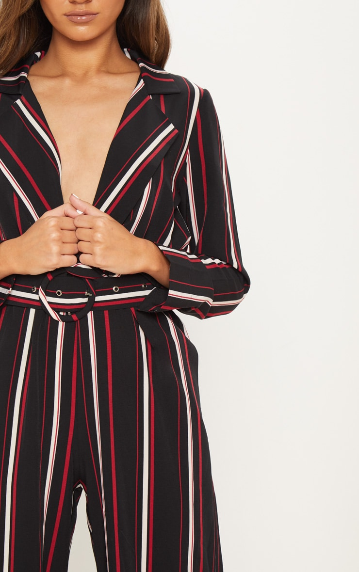 Multi Striped Belt Detail Wide Leg Jumpsuit 5