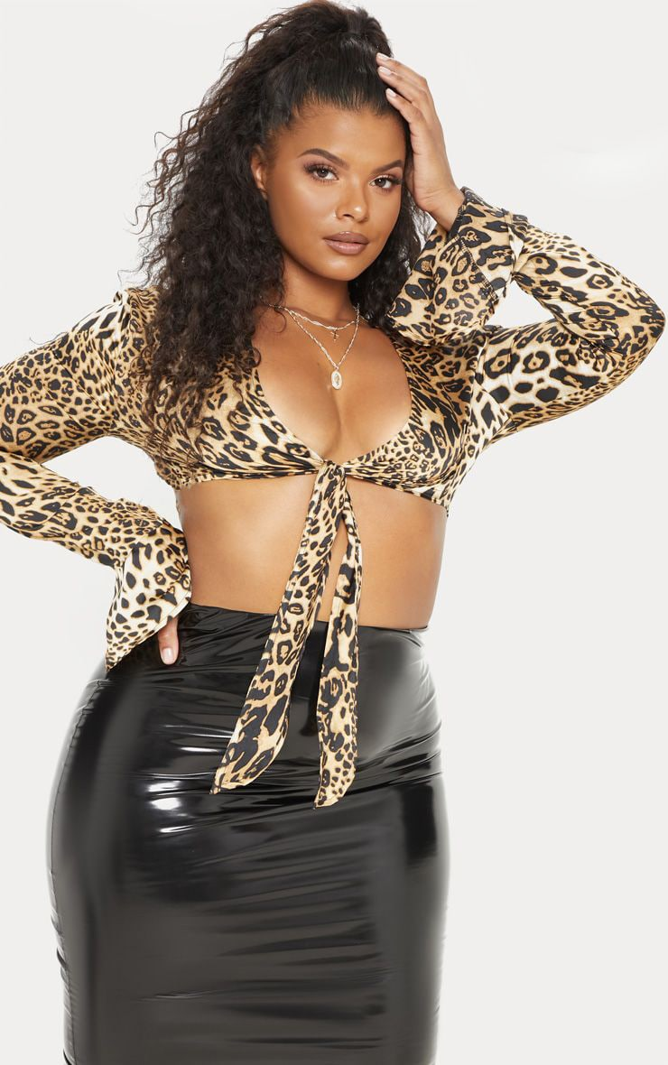 Plus Tan Leopard Print Frill Sleeve Crop Top 1