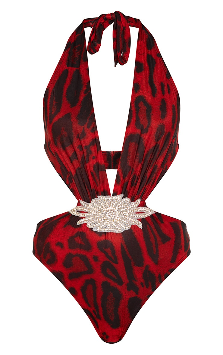 Premium Red Leopard Plunge Diamante Middle Pool Party Costume 4