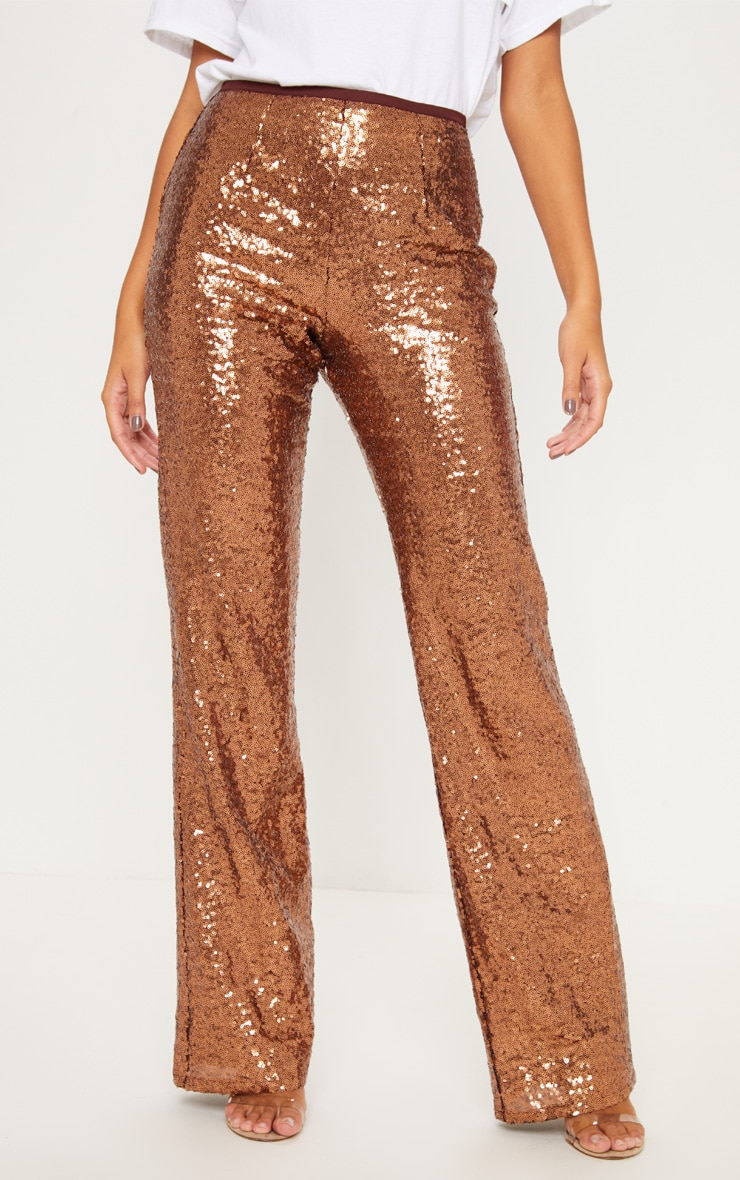 Bronze Sequin Flare Leg Trouser 2