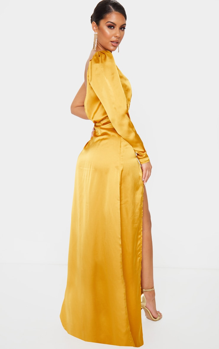 Mustard Cup Detail One Sleeve Maxi Dress 2