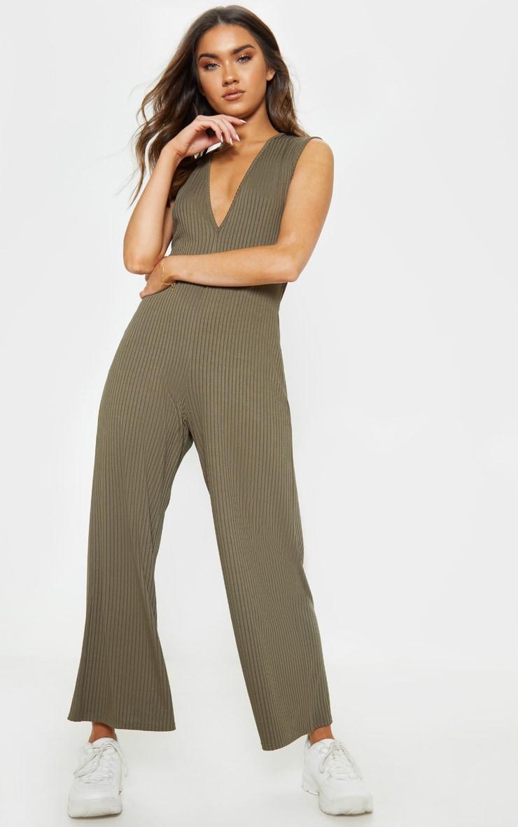 Khaki Rib Oversized Slouchy Jumpsuit 1