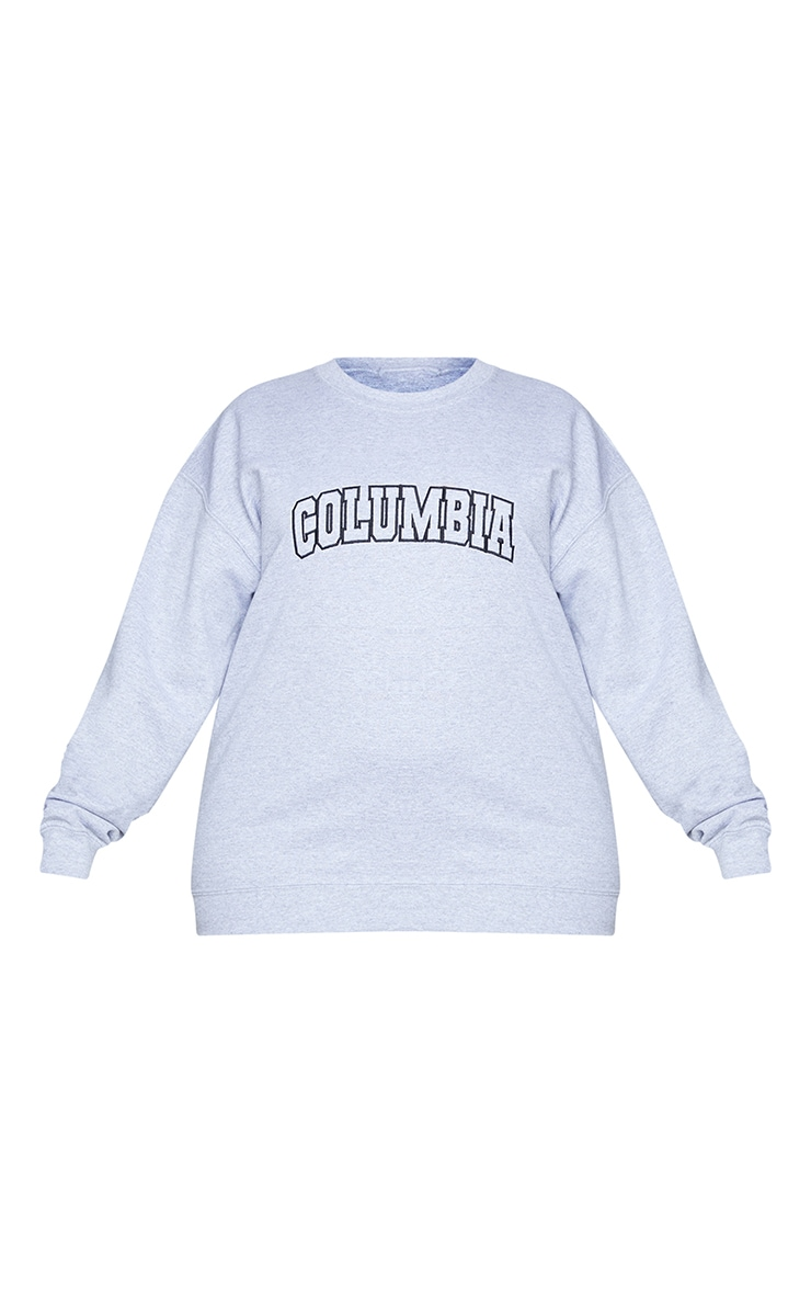 Plus Grey Columbia Embroidered Oversized Sweater 5