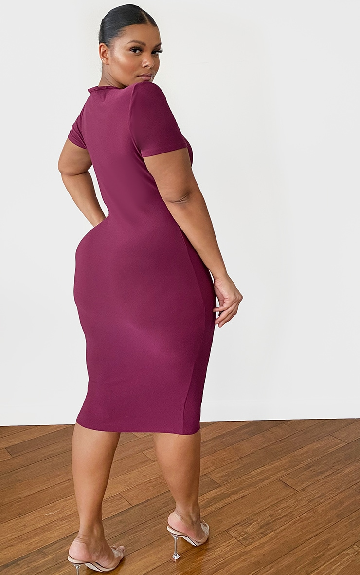Plus Burgundy Cap Sleeve Midi Dress 2