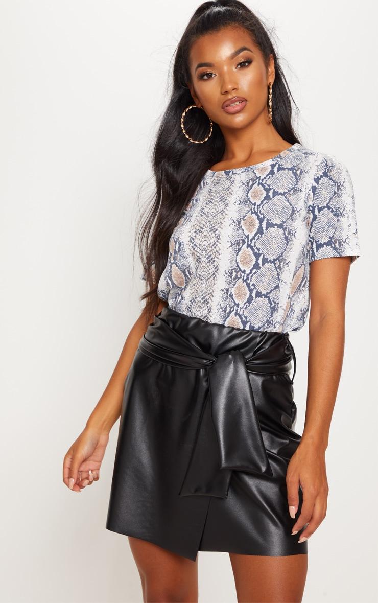 Black Faux Leather Tie Waist Mini Skirt