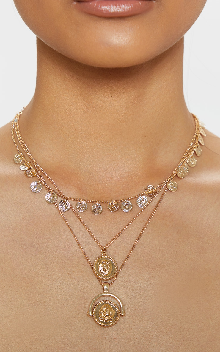 Gold Triple Layer Mini Disc Spinning Charm Necklace 2