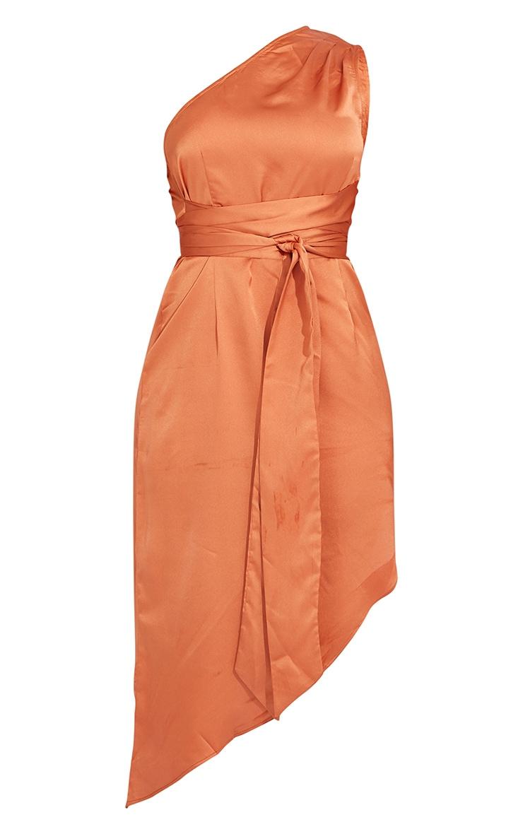 Rust Satin One Shoulder Tie Waist Asymmetric Hem Midi Dress 5