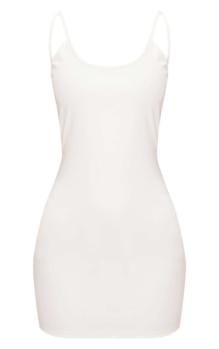 White PU Strappy Backless Bodycon Dress 3
