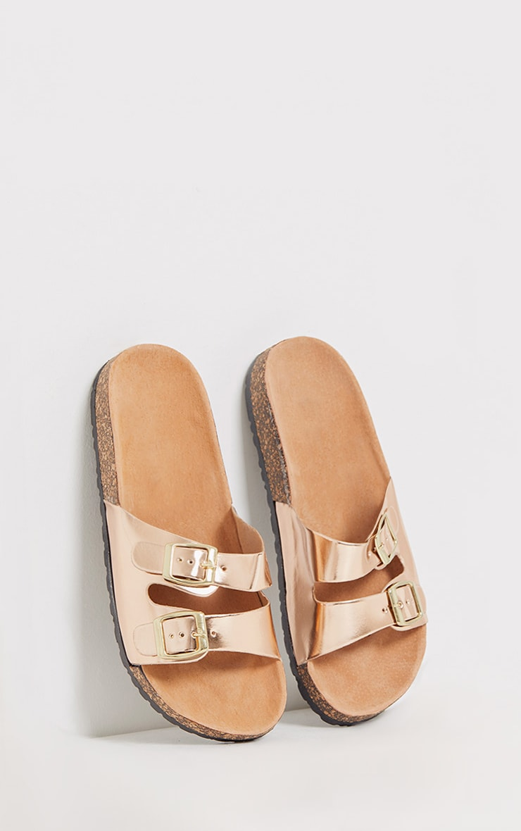 Adena Rose Gold Metallic Double Strap Sandals 1