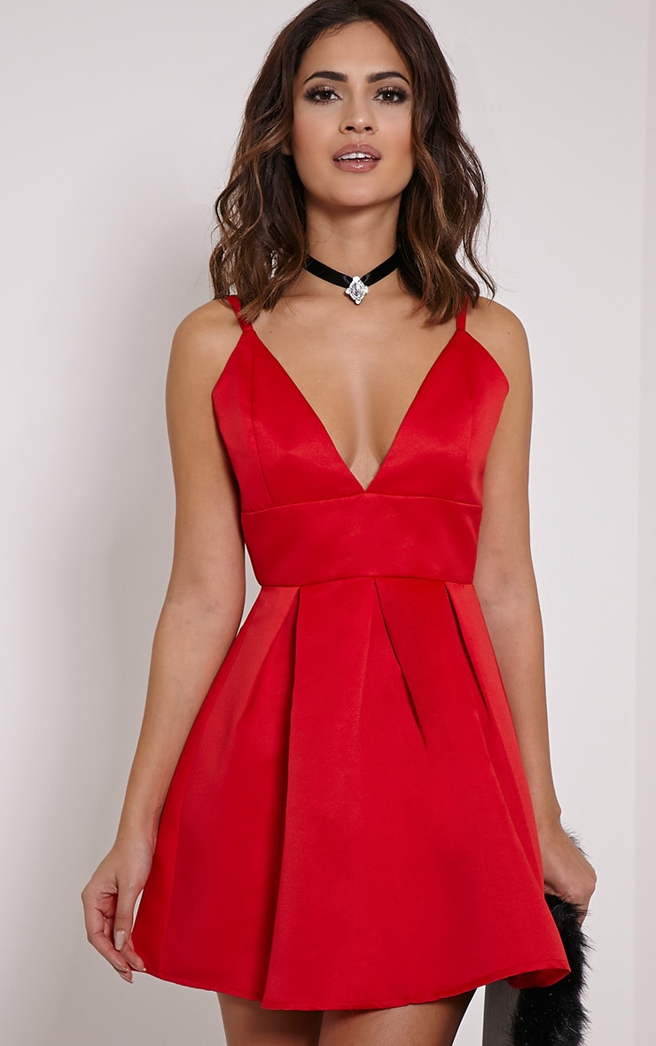Annora Red Satin Strappy Skater Dress 1