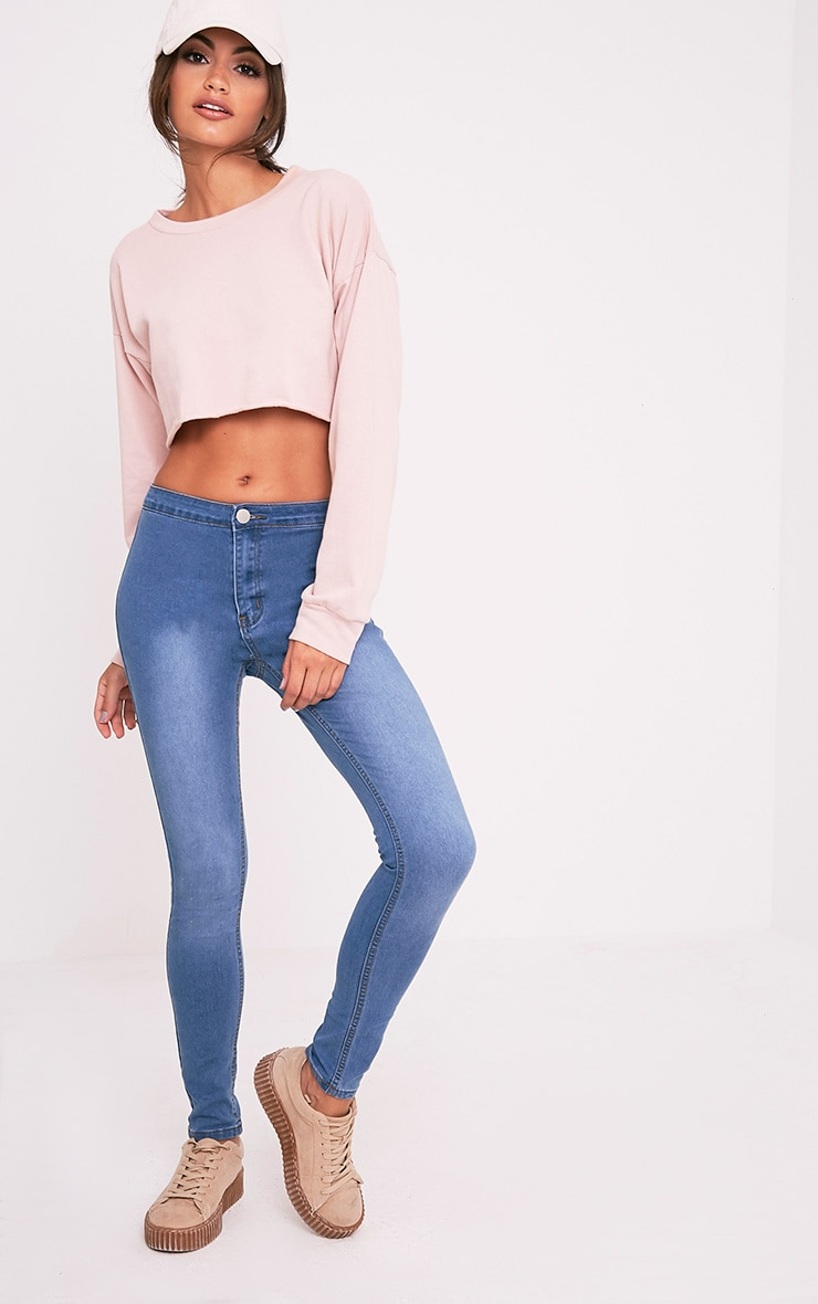 Mid Blue Wash Mid Rise Skinny Jeans 1
