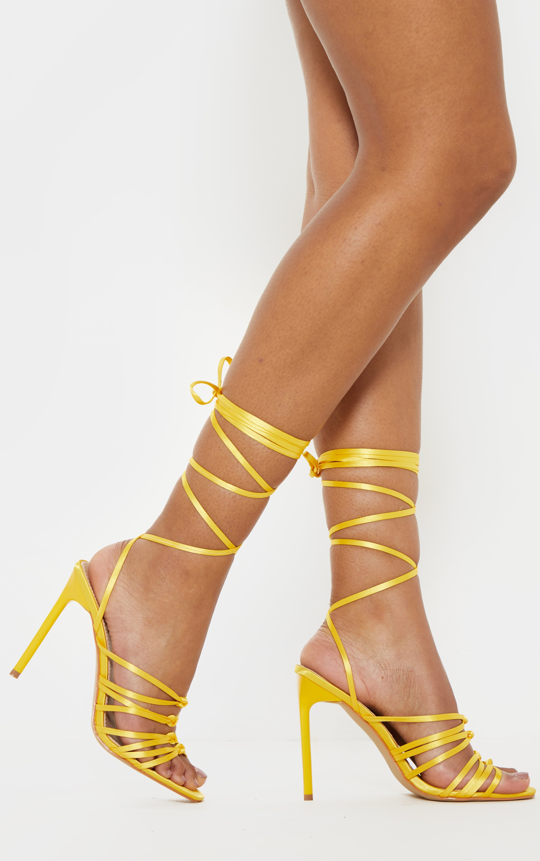 Neon Yellow Satin Strappy Lace Up Sandal  2