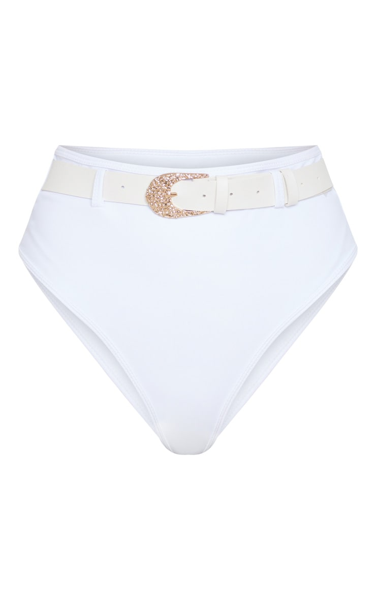 White Buckle Belted Bikini Bottom 3