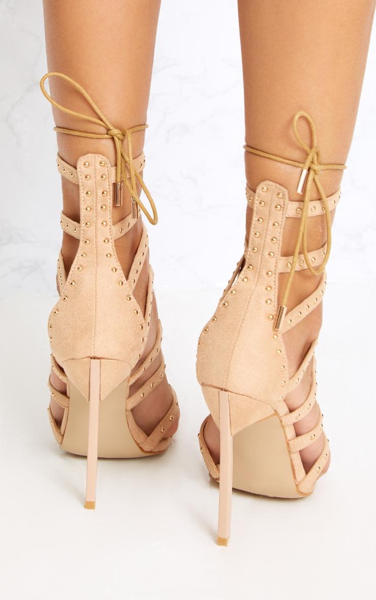 Josiane Nude Studded Lace Up Stiletto Heels 4