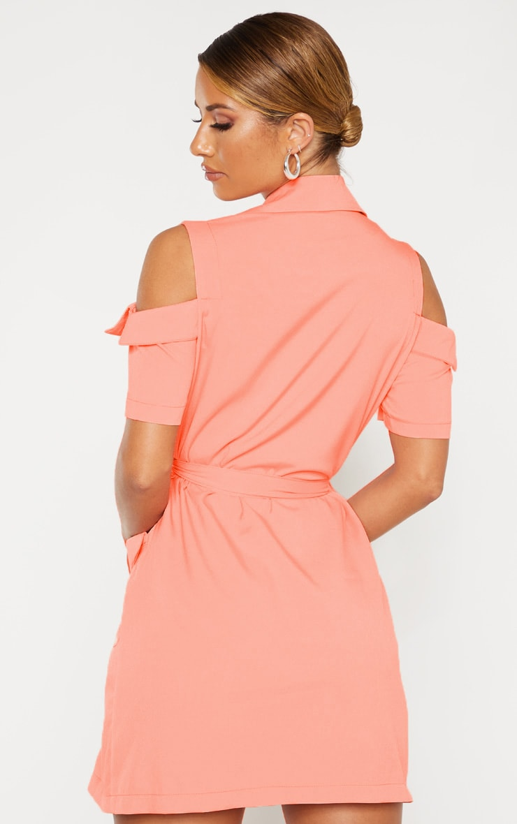 Coral Cold Shoulder Utility Blazer Dress 2