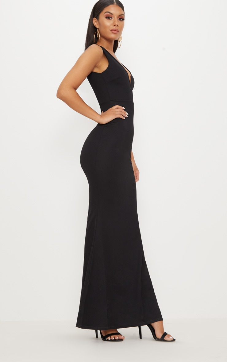 Black V Bar Plunge Maxi Dress 4
