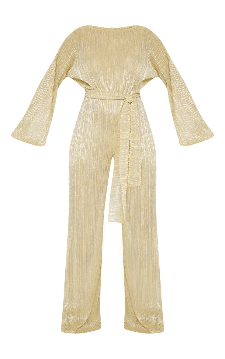 Gold Metallic Sheer Plisse Wide Leg Jumpsuit 4