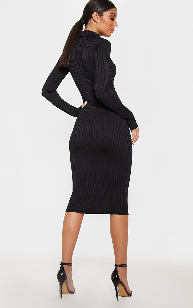 Black Long Sleeve Roll Neck Cut Out Midi Dress 2