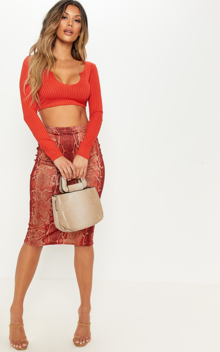 Rust Long Sleeve Rib Raw V Crop Top 3
