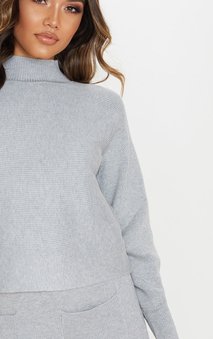 Grey Rib Knitted Skirt Set 6