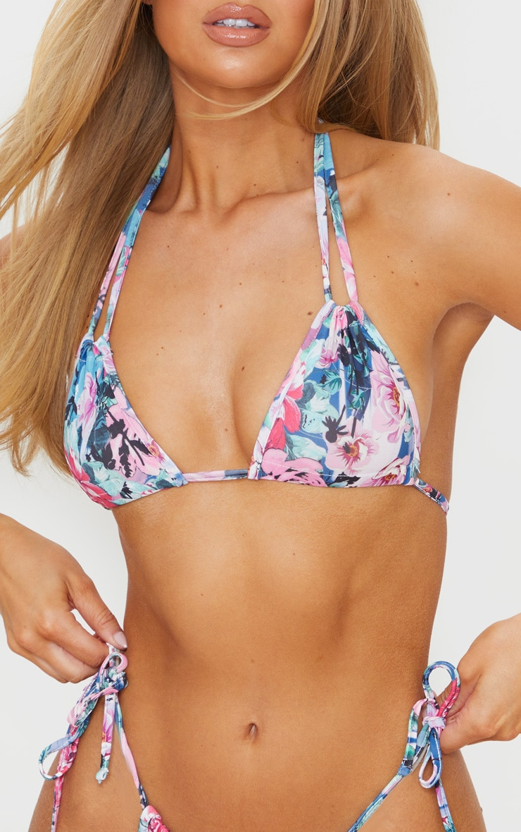 Top de bikini multicolore imprimé floral dos nu à mini triangles froncés 4