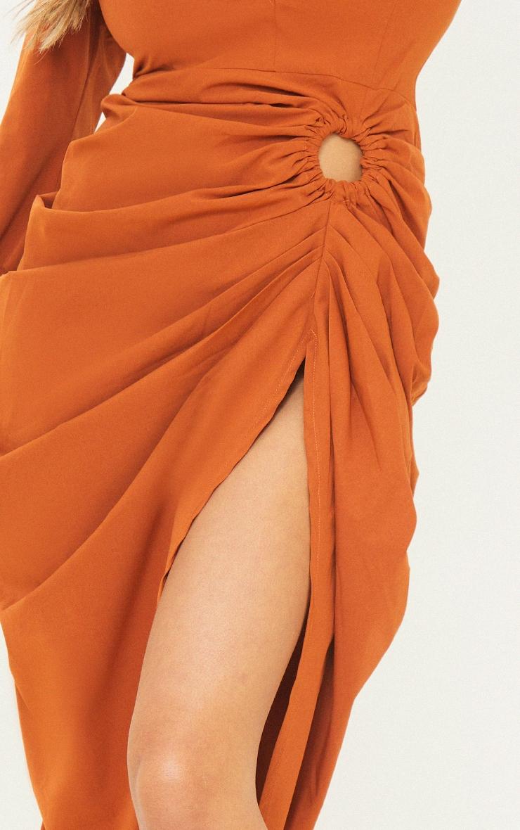 Rust Oversized Tie Cuff Ring Detail Midi Shirt Dress 4