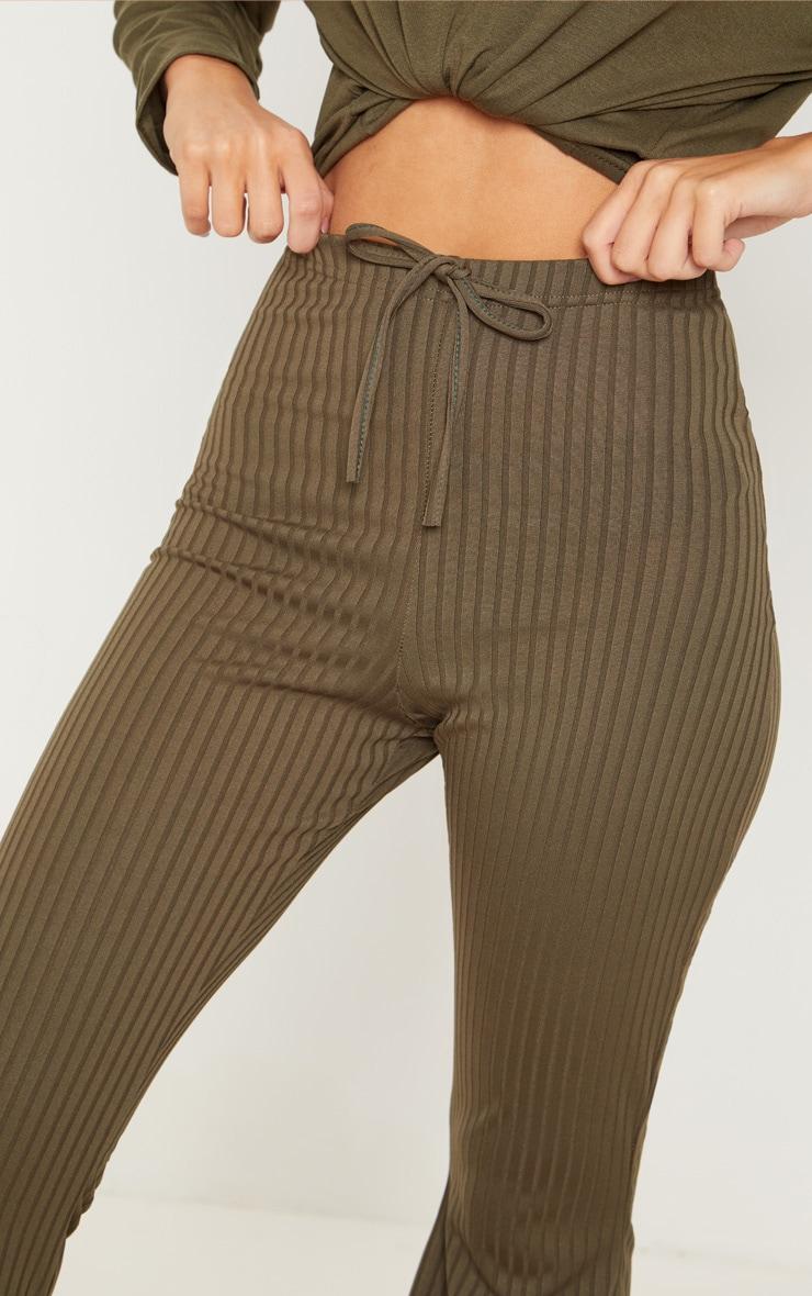 Khaki Tie Detail Ribbed Flare Trouser 5