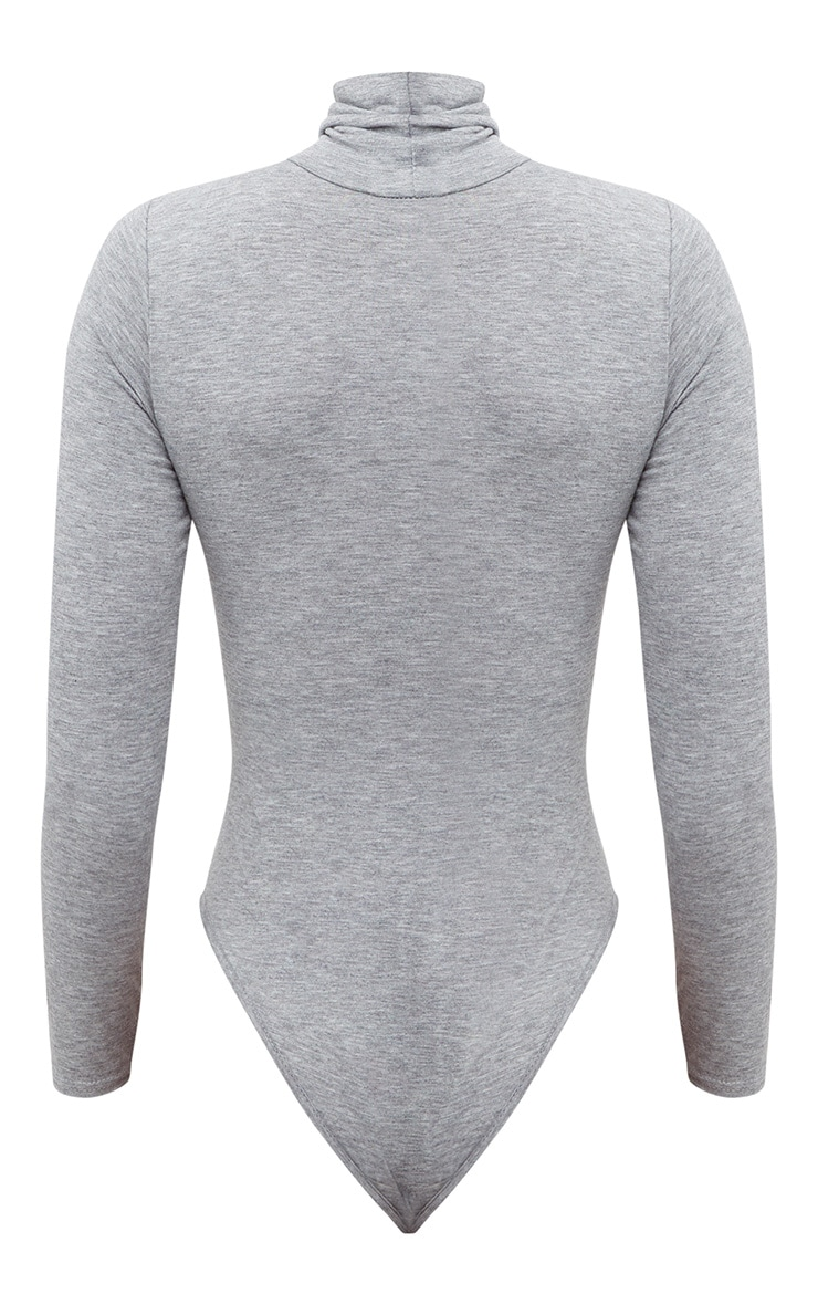Basic Grey Roll Neck Long Sleeve Bodysuit 4