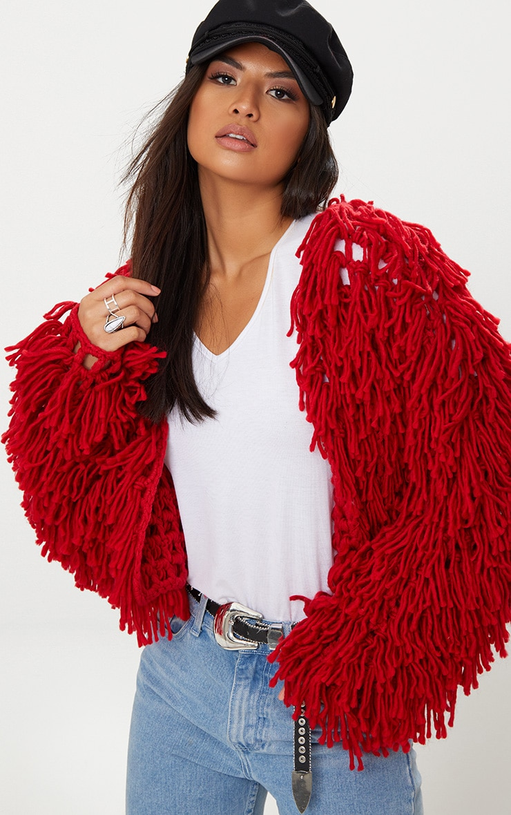 Red Shaggy Knit Cropped Cardigan