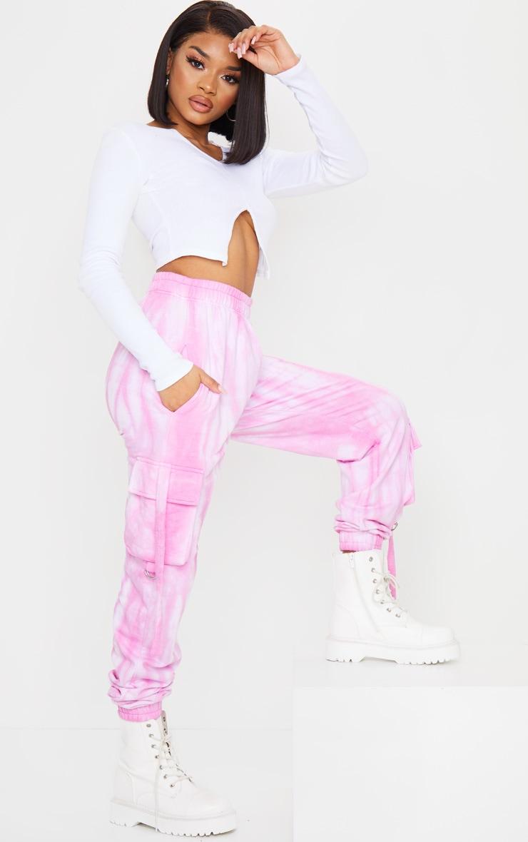 Petite Pink Cargo Tie Dye Joggers 1