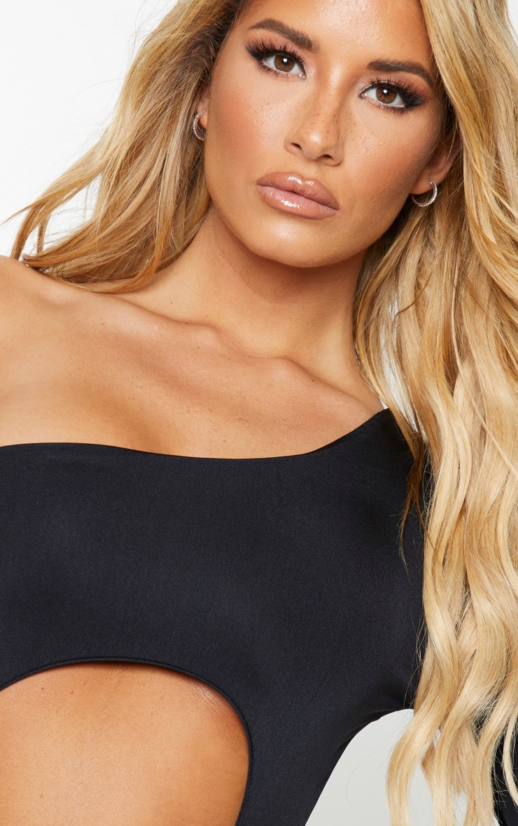 Black Cut Out One Long Sleeve Swimsuit 4