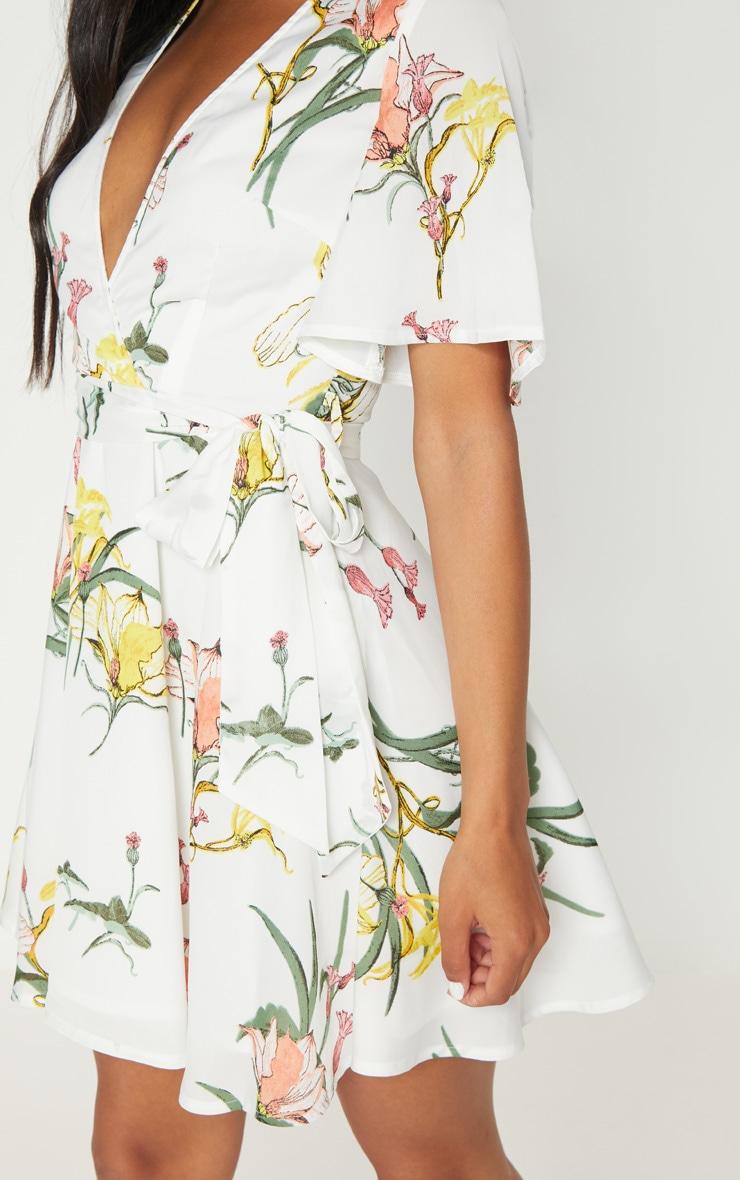 White Floral Print Chiffon Plunge Skater Dress 4